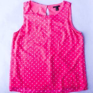 Forever 21hot pink polka dot shirt in Medium